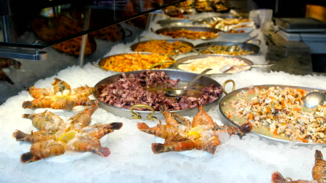 sea food in city restaurant - filleted stock videos & royalty-free footage