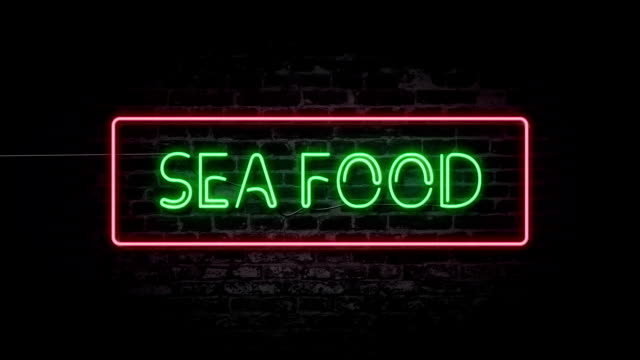 sea food neon sign - seafood stock videos & royalty-free footage