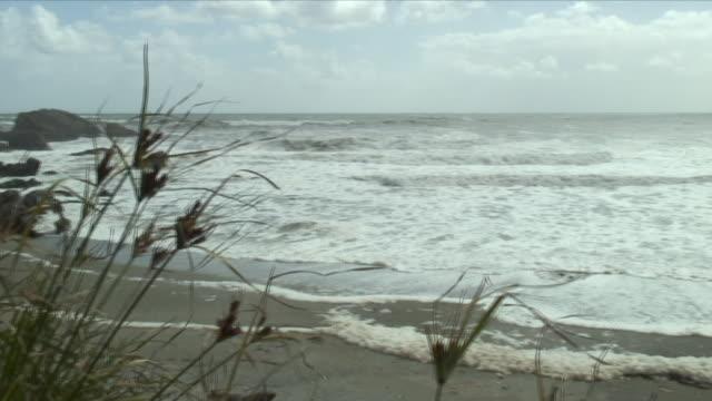 ws pan sea from beach / punakaiki, new zealand - new zealand stock-videos und b-roll-filmmaterial