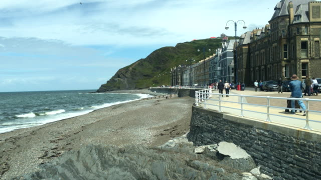 vídeos de stock, filmes e b-roll de sea front at victoria terrace - aberystwyth