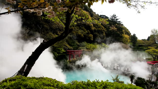 sea hell in beppu, japan - thermalquelle stock-videos und b-roll-filmmaterial