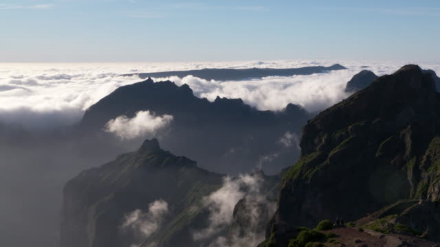 Sea of clouds and mountains seen from Pico do Arieiro (mountain). Pico do Arieiro, Madeira Island, Portugal