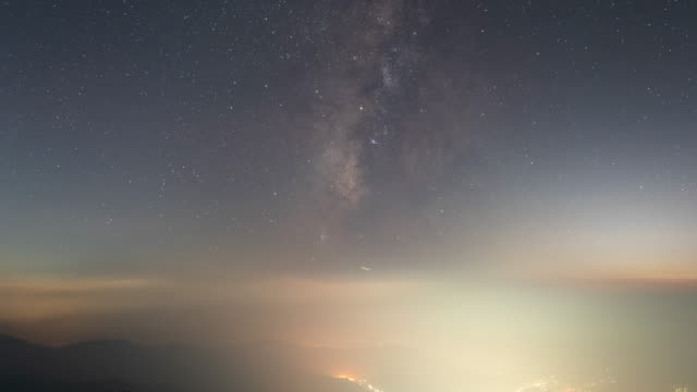 sea of clouds and night sky, view from manbokdae peak of jirisan mountain / gurye-gun, jeollanam-do, south korea - jeollanam do stock videos & royalty-free footage