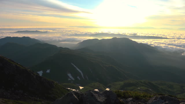 sea of clouds and sunrise viewed from hakusan - ishikawa prefecture stock videos and b-roll footage