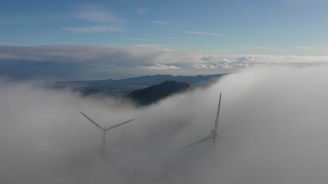 sea of clouds and wind turbines / daegwallyeong-myeon, pyeongchang-gun, gangwon-do, south korea - two objects stock videos & royalty-free footage