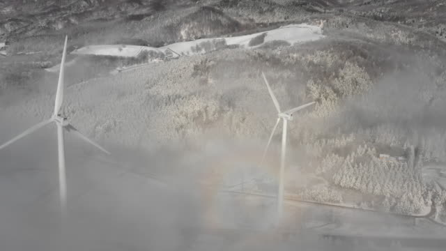 sea of clouds and wind turbines / daegwallyeong-myeon, pyeongchang-gun, gangwon-do, south korea - deep snow stock videos & royalty-free footage
