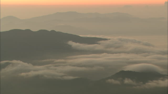 sea of clouds at dawn seen from mt. gassan - yamagata prefecture stock videos & royalty-free footage