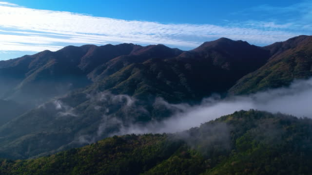 sea of clouds over sobaeksan mountain / yeongju-si, gyeongsangbuk-do, south korea - high up stock videos & royalty-free footage