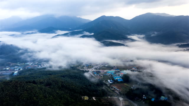 sea of clouds over village in mountain / gyeonggi-do, south korea - naturwald stock-videos und b-roll-filmmaterial