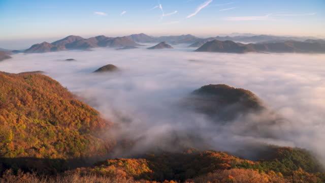 stockvideo's en b-roll-footage met sea of clouds surrounding guksabong peak / imsil-gun, jeollabuk-do, south korea - plate met stilstaande achtergrond