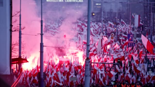 sea of polish flags on independence day march - poland stock videos & royalty-free footage