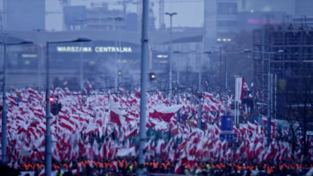 Sea of Polish flags on Independence Day march