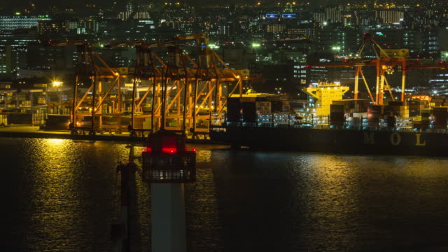 Sea shipping port in night time at odaiba, japan. Cargo shipping