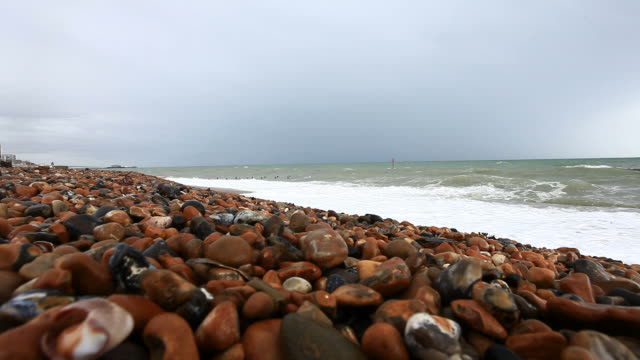 sea shore under a stormy sky - brighton england stock videos and b-roll footage