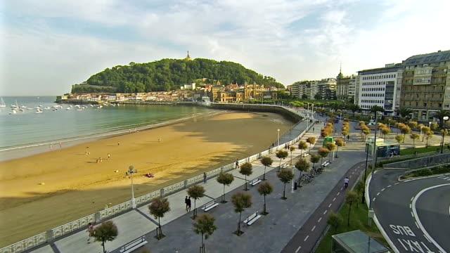 Sea side view of 'La Concha' in San Sebastian Basque Country