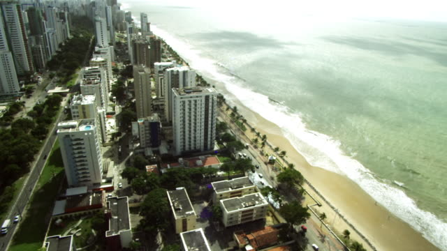 sea site boa viagem beach/ appartments on the sea coast/ aeroporto /litoral praia de boa viagem /recife- pe - brazil stock videos & royalty-free footage