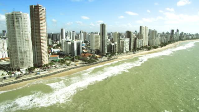 sea site boa viagem beach/ appartments on the sea coast/ aeroporto /litoral praia de boa viagem /recife- pe - litoral stock videos & royalty-free footage