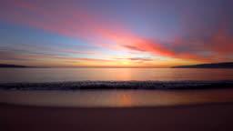 Sea sunrise and ripple waves, beautiful morning on the beach