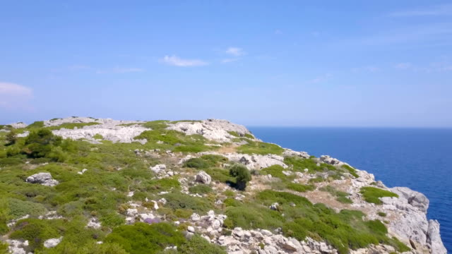sea view from a cliff top - rhodes dodecanese islands stock videos & royalty-free footage