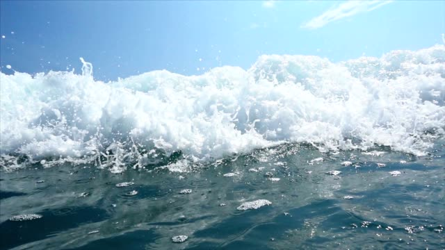 slo mo sea waves splashing over camera - shallow stock videos and b-roll footage
