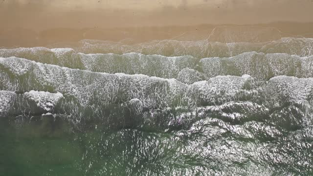 sea, waves with sun reflecting, empty beach, aerial view, close up - reptile stock videos & royalty-free footage