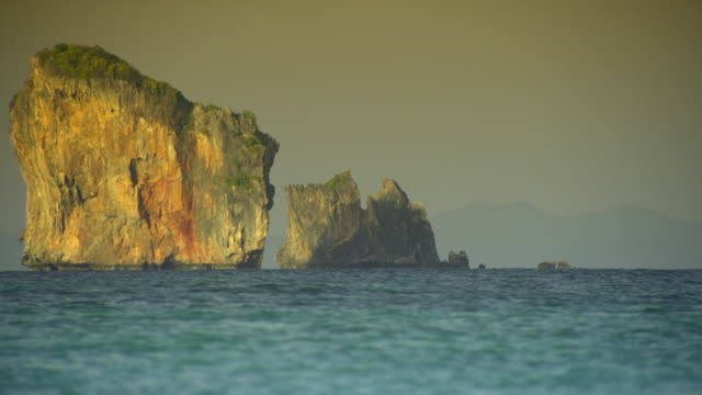 ms sea with limestone pinnacles, krabi, thailand - see other clips from this shoot 1459 stock videos and b-roll footage