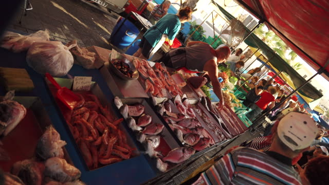 seafood at fish market in malta - fish market stock videos and b-roll footage