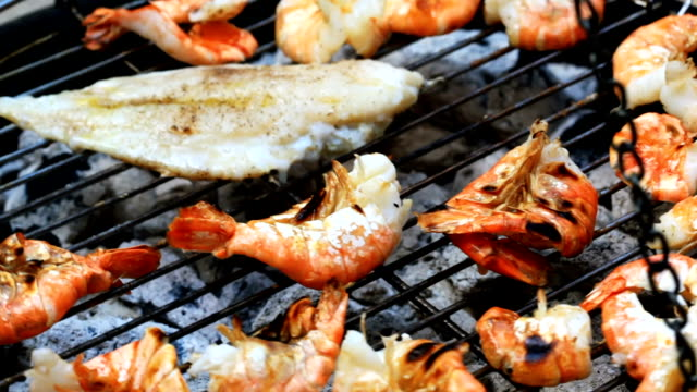 seafood barbecue - prawn seafood stock videos & royalty-free footage