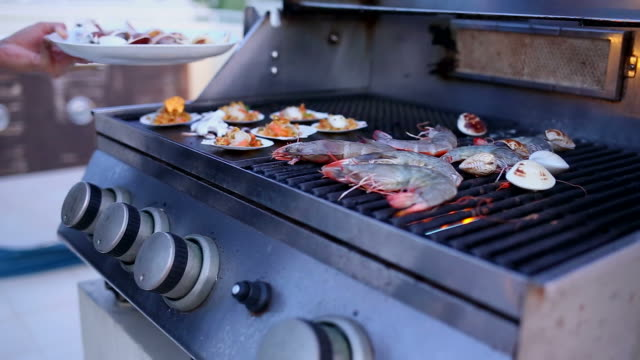 seafood barbecue - scampi seafood stock videos and b-roll footage