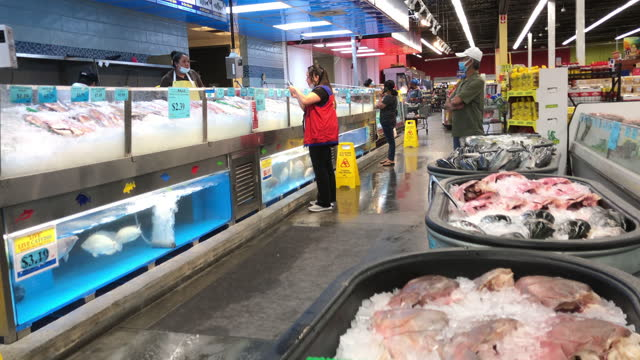 seafood counter at the store. a customer wearing a face mask during the coronavirus pandemic wait in line for service in atlanta, georgia on june 01,... - fish stock videos & royalty-free footage
