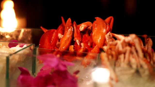 Seafood crab in buffet corner on table for a party.