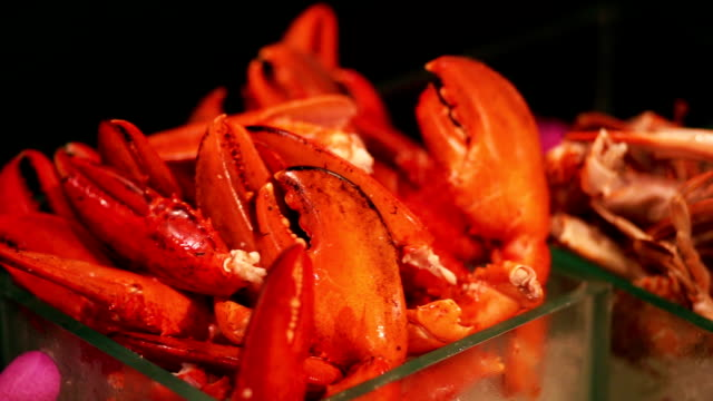 seafood crab in buffet corner on table for a party. - banquet stock videos & royalty-free footage