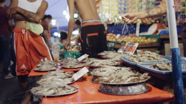 Seafood for Sale on Market Stall in Manila