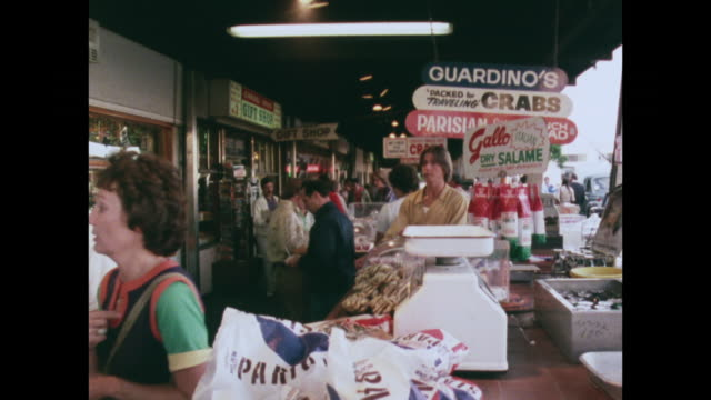 seafood market at fisherman's wharf, san francisco; 1976 - exchanging stock videos & royalty-free footage
