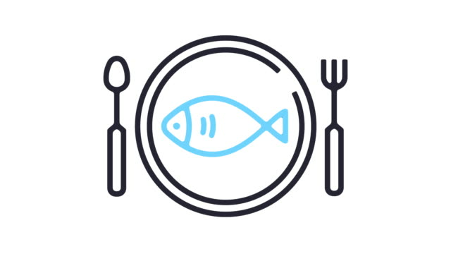 seafood restaurants line icon animation - outline stock videos & royalty-free footage