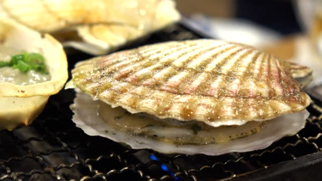 seafood scallops grilled at fish market in japan - seashell stock videos & royalty-free footage