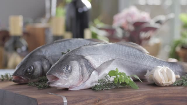 seafood sea bass fillet. colorful cuisine healthy food - organic stock videos & royalty-free footage