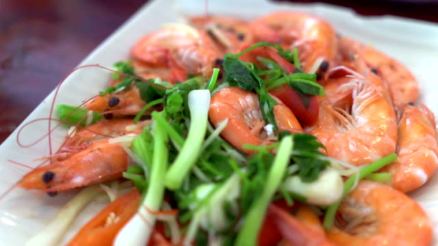 seafood shrimp bake in white plate - lobster stock videos & royalty-free footage