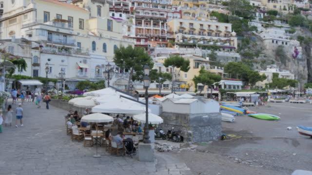 Seafront and Restaurants, Costiera Amalfitana (Amalfi Coast), UNESCO World Heritage Site, Province of Salerno, Campania, Italy, Europe
