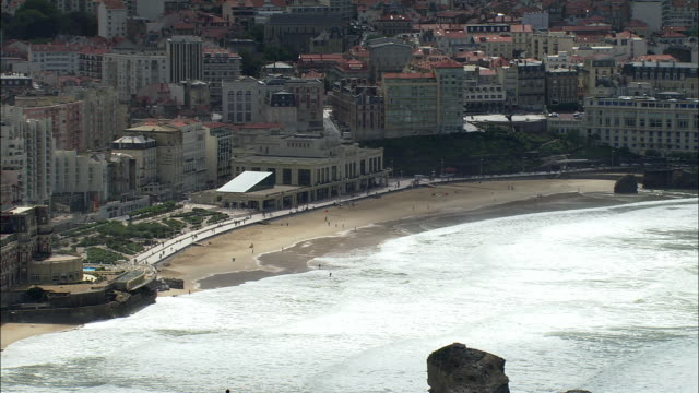 LOW AERIAL, Seafront hotels at Biarritz, Aquitaine, France