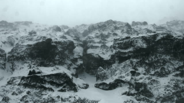 Seagulls fly over snow covered basalt cliffs in southern Iceland.