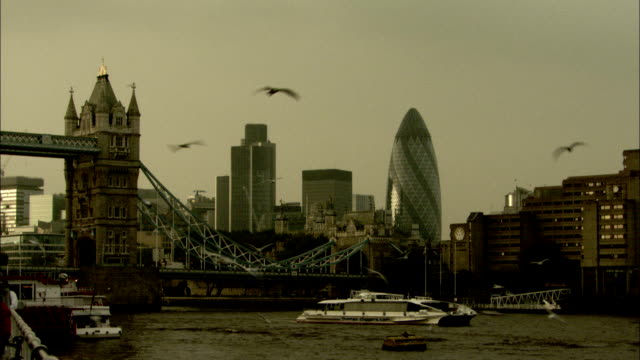 seagulls wheel in front of tower bridge as a ferry passes. available in hd. - ferry stock videos & royalty-free footage