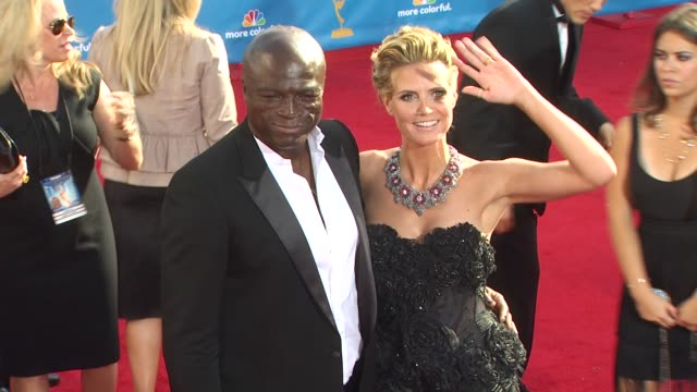 seal and heidi klum at the 62nd primetime emmy awards - arrivals part 2 at los angeles ca. - heidi klum stock videos & royalty-free footage