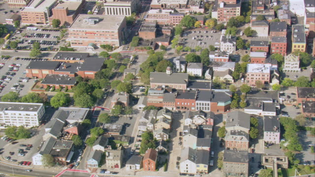 aerial seamen's bethel and surrounding buildings near harbor and marina in the historic district / new bedford, massachusetts, united states - new bedford stock videos & royalty-free footage