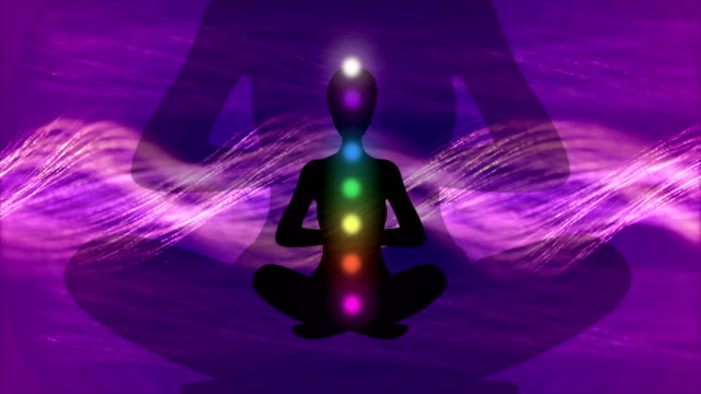 seamless animation of a meditating person, 4k video - new age stock videos & royalty-free footage