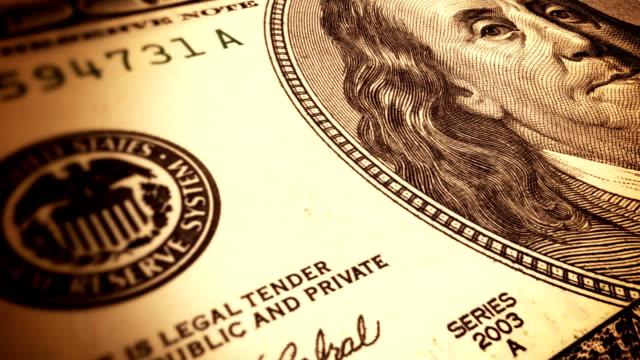 Seamless animation of hundred dollar bill