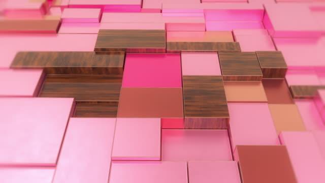 vidéos et rushes de animation transparente des blocs mobiles de rose et de bois - metal texture