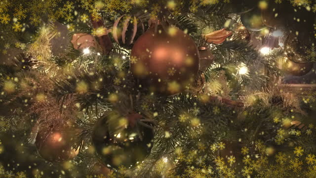 nahtlose weihnachtsbaum und ornament dekoration, 4k-video-animation. - lametta stock-videos und b-roll-filmmaterial