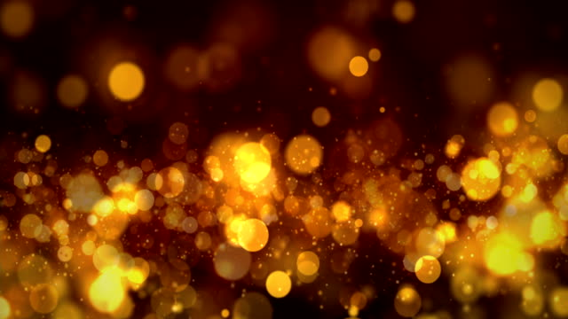 vídeos de stock e filmes b-roll de seamless golden particles bokeh abstract, 4k video loop - dourado cores