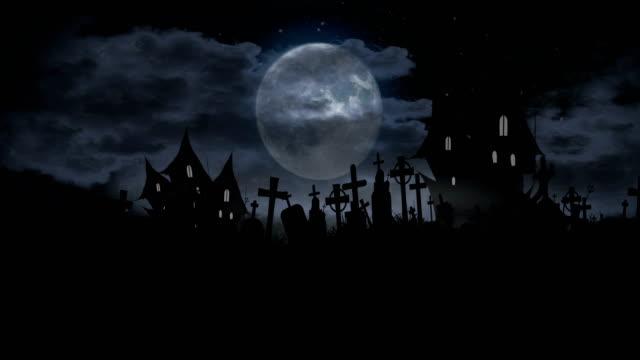 seamless halloween animation, 4k loop - cemetery stock videos & royalty-free footage